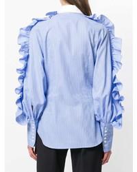 Chemise de ville à rayures verticales bleue Sara Battaglia