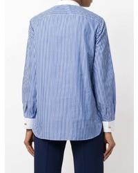 Chemise de ville à rayures verticales bleue Tory Burch