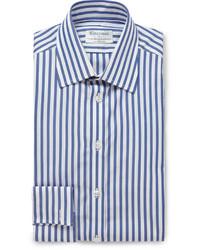 Chemise de ville à rayures verticales bleue Turnbull & Asser