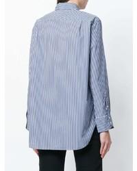 Chemise de ville à rayures verticales bleue Woolrich