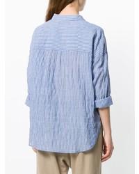 Chemise de ville à rayures verticales bleue Xirena