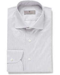 Chemise de ville à rayures verticales grise Canali