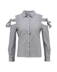 Chemise de ville à rayures verticales grise Even&Odd