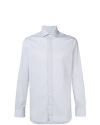 Chemise de ville à rayures verticales grise Z Zegna