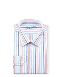 Chemise de ville à rayures verticales multicolore