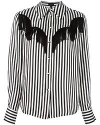 Chemise de ville à rayures verticales noire et blanche Marc Jacobs