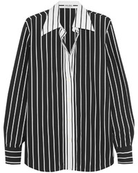 Chemise de ville à rayures verticales noire et blanche Miu Miu