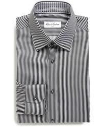 Chemise de ville à rayures verticales noire