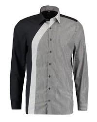Chemise de ville à rayures verticales noire Olymp