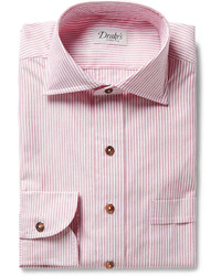 Chemise de ville à rayures verticales rose Drakes