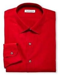 Chemise de ville à rayures verticales rouge