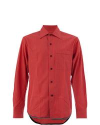 Chemise de ville à rayures verticales rouge Lanvin