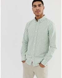 Chemise de ville à rayures verticales vert menthe Pull&Bear