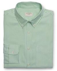 Chemise de ville à rayures verticales verte