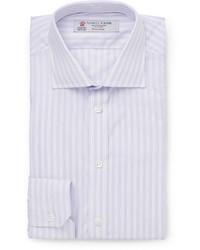 Chemise de ville à rayures verticales violet clair Turnbull & Asser