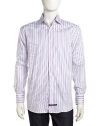 Chemise de ville à rayures verticales violette