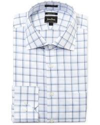 Chemise de ville blanche et bleue