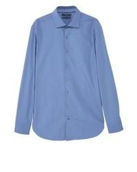 Chemise de ville bleue Mango