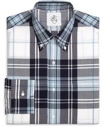 Chemise de ville écossaise blanc et bleu marine