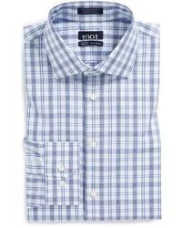 Chemise de ville écossaise blanc et bleu