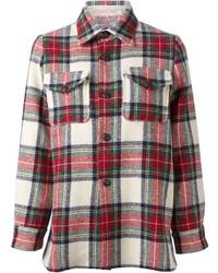 Chemise de ville écossaise blanc et rouge