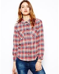 Chemise de ville écossaise blanc et rouge Glamorous