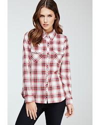 Chemise de ville écossaise rouge et blanc