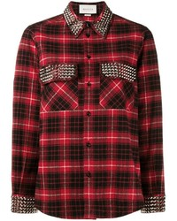 Chemise de ville écossaise rouge Gucci