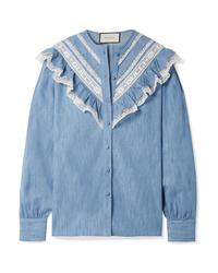 Chemise de ville en chambray à volants bleue Gucci