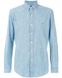 Chemise de ville en chambray bleu clair Ralph Lauren