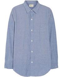 Chemise de ville en chambray bleue