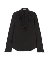 Chemise de ville en soie à volants noire Sonia Rykiel