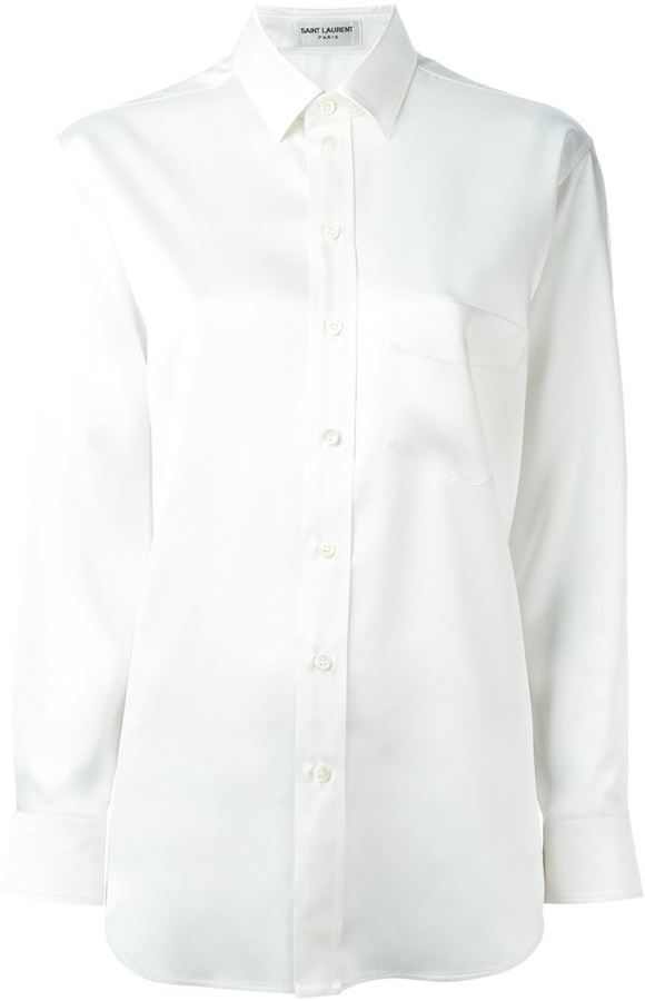Chemise de ville en soie blanche Saint Laurent