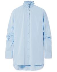 Chemise de ville en soie bleu clair