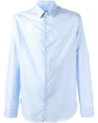 Chemise de ville en soie bleu clair Giorgio Armani