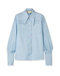Chemise de ville en soie bleu clair Gucci
