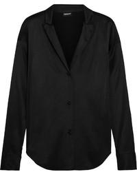 Chemise de ville en soie noire DKNY