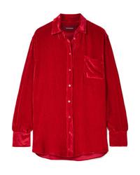 Chemise de ville en soie rouge