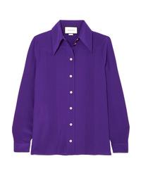 Chemise de ville en soie violette Gucci