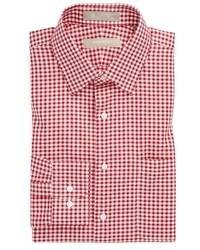 Chemise de ville en vichy blanc et rouge