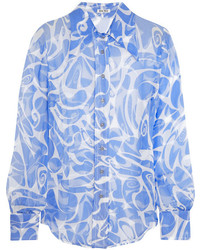 Chemise de ville imprimée blanc et bleu Miu Miu