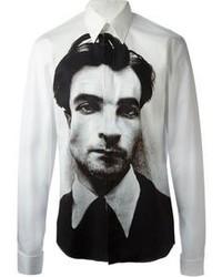 Chemise de ville imprimée blanche et noire Alexander McQueen