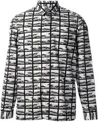 Chemise de ville imprimée blanche et noire Kenzo