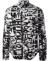 Chemise de ville imprimée blanche et noire McQ by Alexander McQueen