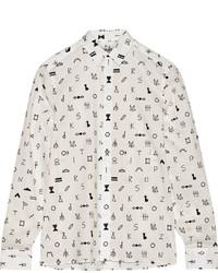 Chemise de ville imprimée blanche Kenzo