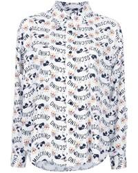 Chemise de ville imprimée blanche Moschino