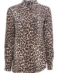 Chemise de ville imprimée léopard marron clair