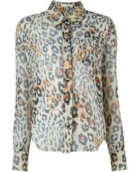 Chemise de ville imprimée léopard marron clair Chloé