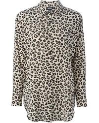 Chemise de ville imprimée léopard marron clair DKNY