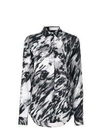 Chemise de ville imprimée noire et blanche Saint Laurent
